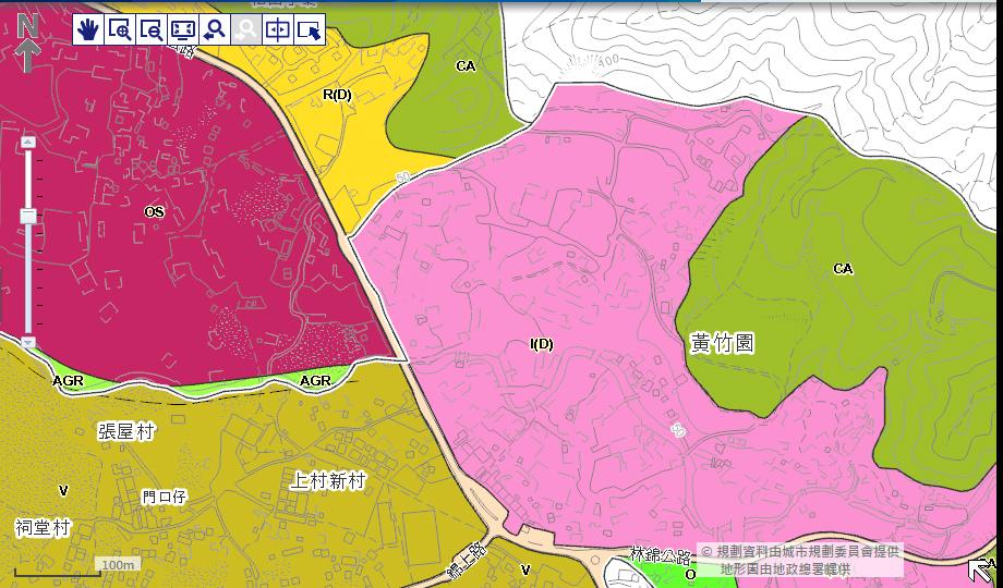 石崗分區計劃大綱核准圖。